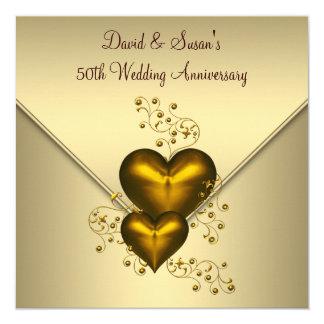 Aniversario de boda elegante del oro 50.o de los invitación 13,3 cm x 13,3cm