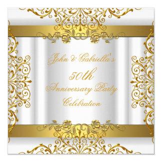 Aniversario de boda elegante del oro 50.o del oro invitación 13,3 cm x 13,3cm