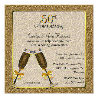 Aniversario de boda elegante del oro 50 o invitacion personalizada