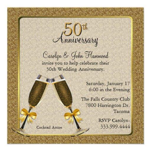 Aniversario de boda elegante del oro 50.o invitacion personalizada