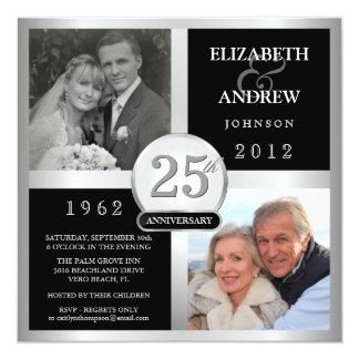 Aniversario de boda - entonces y ahora invitación 13,3 cm x 13,3cm