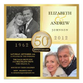 Aniversario de boda entonces y ahora invitaciones invitación 13,3 cm x 13,3cm