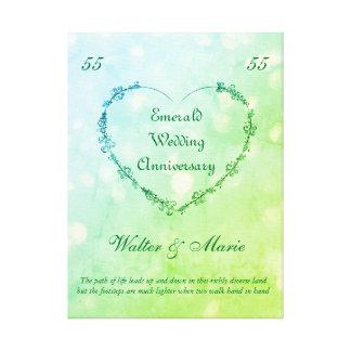 Aniversario de boda esmeralda adaptable lienzo