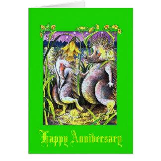 Aniversario de boda esmeralda del erizo tarjeta de felicitación