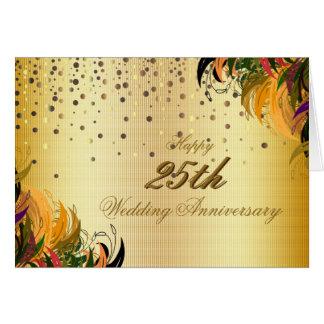 Aniversario de boda feliz del confeti del oro 25to tarjeta de felicitación