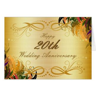 Aniversario de boda feliz floral del metal del oro tarjeta de felicitación