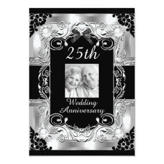 Aniversario de boda floral de la foto de plata invitación 12,7 x 17,8 cm