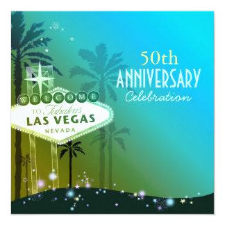 Aniversario de boda glamoroso de Las Vegas 50.o Invitación 13,3 Cm X 13,3cm