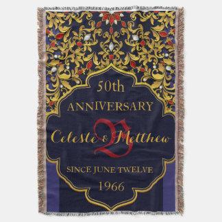 Aniversario de boda Jeweled lujo del oro del rojo Manta