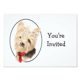 Aniversario de boda lindo de Yorkshire Terrier Invitación 11,4 X 15,8 Cm
