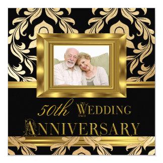 Aniversario de boda negro de la foto 50.a del invitación 13,3 cm x 13,3cm