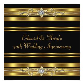 Aniversario de boda negro del oro 50.o invitación 13,3 cm x 13,3cm