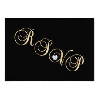 Aniversario de boda negro elegante de RSVP del oro Invitación 8,9 X 12,7 Cm