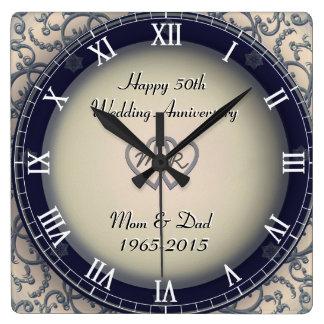 Aniversario de boda ornamental reloj cuadrado