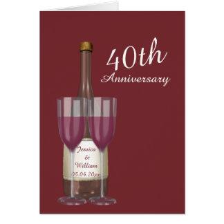 Aniversario de boda personalizado del rubí 40.o tarjeta