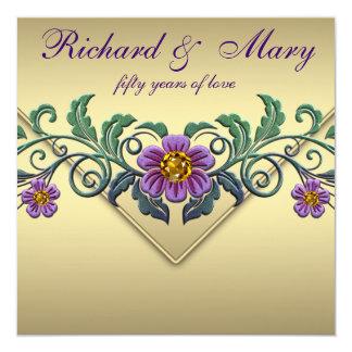 Aniversario de boda púrpura del oro 50.o de la invitación 13,3 cm x 13,3cm