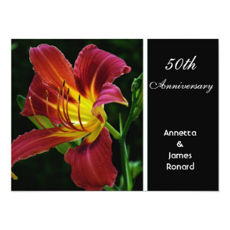 aniversario de boda púrpura rojo de la flor del invitación 13,9 x 19,0 cm