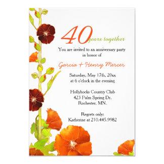 Aniversario de boda rojo del blanco 40.o de los invitación 12,7 x 17,8 cm