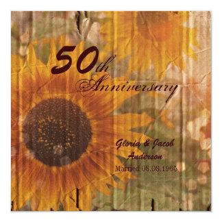 aniversario de boda rústico del girasol 50.o del invitación 13,3 cm x 13,3cm