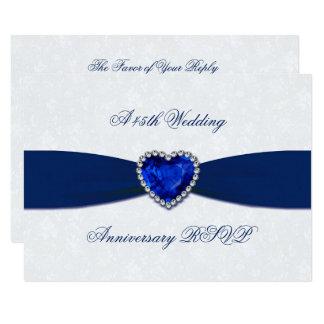 Aniversario de boda suave del damasco 45.o RSVP Invitación 8,9 X 12,7 Cm