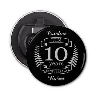Aniversario de boda tradicional de marfil 10 años abrebotellas redondo