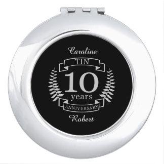 Aniversario de boda tradicional de marfil 10 años espejo maquillaje