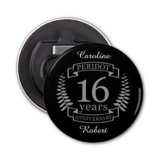Aniversario de boda tradicional de plata 16 años abrebotellas redondo
