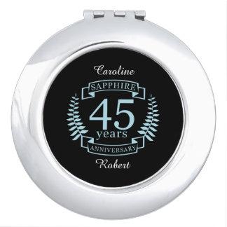 Aniversario de boda tradicional del zafiro 45.o espejo de viaje