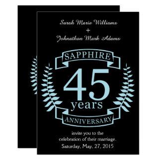 Aniversario de boda tradicional del zafiro 45.o invitación 12,7 x 17,8 cm