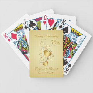 Aniversario de boda unido de oro de los corazones baraja de cartas bicycle