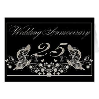Aniversario de bodas de plata 25 años de tarjeta de felicitación