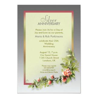 aniversario de bodas de plata - 25 años invitación 12,7 x 17,8 cm