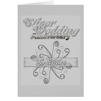 Aniversario de bodas de plata 25 años tarjeta de felicitación