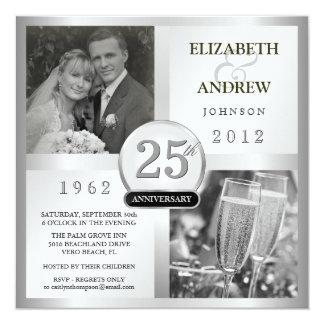 Aniversario de bodas de plata 25 - invitaciones de invitación 13,3 cm x 13,3cm