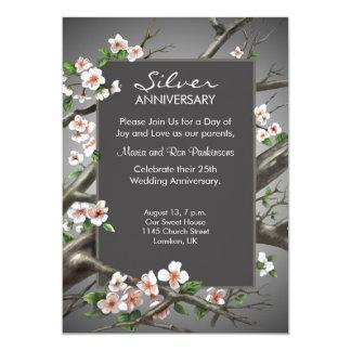 Aniversario de bodas de plata - 25tos años invitación 12,7 x 17,8 cm