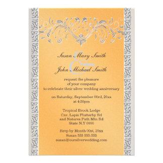 Aniversario de bodas de plata anaranjado floral