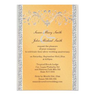 Aniversario de bodas de plata anaranjado floral invitación 12,7 x 17,8 cm