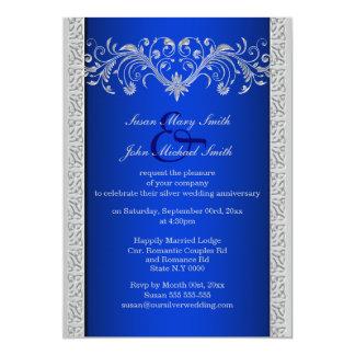 Aniversario de bodas de plata azul floral invitación