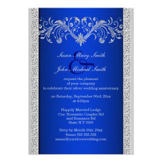 Aniversario de bodas de plata azul floral