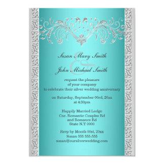 Aniversario de bodas de plata azul floral invitación 12,7 x 17,8 cm