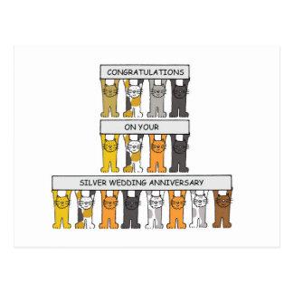Aniversario de bodas de plata con los gatos postal