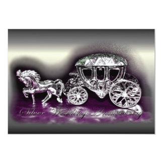 Aniversario de bodas de plata con un coche de invitación 12,7 x 17,8 cm