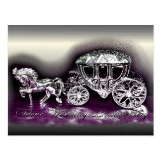 Aniversario de bodas de plata con un coche de plat tarjetas postales