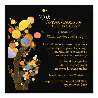 Aniversario de bodas de plata de los árboles de invitación 13,3 cm x 13,3cm