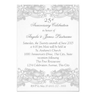 Aniversario de bodas de plata floral del Victorian Invitación 12,7 X 17,8 Cm
