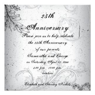 Aniversario de bodas de plata gris negro de la hoj
