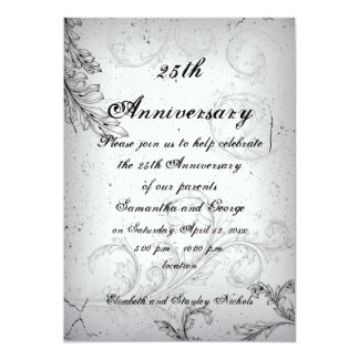 Aniversario de bodas de plata gris negro de la comunicados