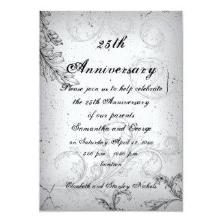 Aniversario de bodas de plata gris negro de la invitación 12,7 x 17,8 cm