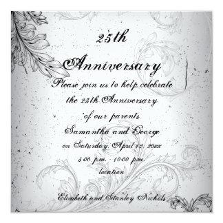 Aniversario de bodas de plata gris negro de la invitación 13,3 cm x 13,3cm