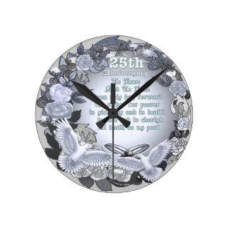 Aniversario de bodas de plata reloj redondo mediano